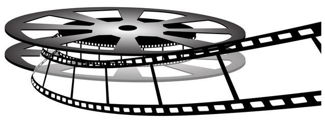 Film reel isolated on white photo-realistic vector illustration