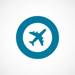 airplane bold blue border circle icon.
