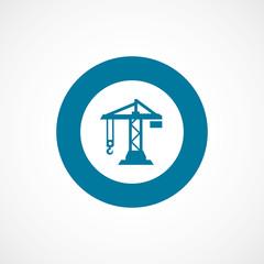 building crane bold blue border circle icon.