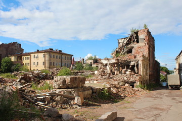 The destroyed building. Vyborg town.