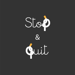 Stop and Quit Smoking concept Lettering