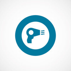 hairdryer bold blue border circle icon.