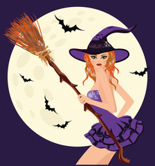 Happy Halloween. Sexual young witch with broom