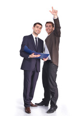 Two businessman pointing at copyspace, Isolated over white back