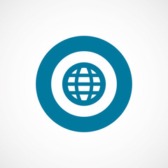 globe bold blue border circle icon.