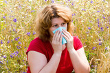 Fat woman with allergic rhinitis in  meadow poster