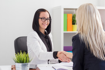 Two women shaking hands while meeting in the office
