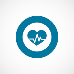 heart pulse bold blue border circle icon.