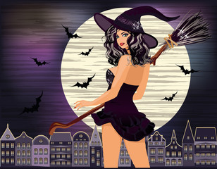 Happy Halloween. Sexy young witch with and night city