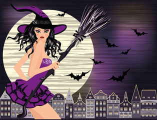 Happy Halloween. Sexy young witch, moon and night city