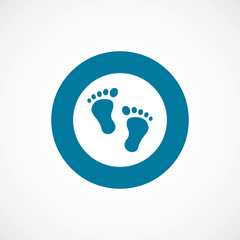 footprints bold blue border circle icon.