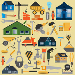 Set of house repair tools icons