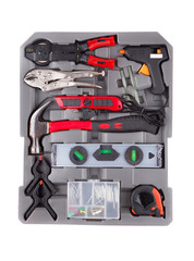 Tools in a gray toolbox.