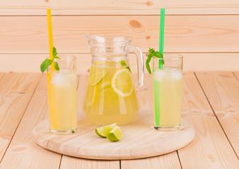 Lemonade fresh on wood table.