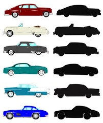 vintage cars in full color and silhouette