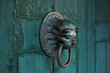 canvas print picture - Antique door handle in the form of a lion