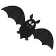 cute flying bat with fangs