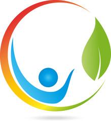 Logo, Mensch, Blatt, Heilpraktiker, Sonne