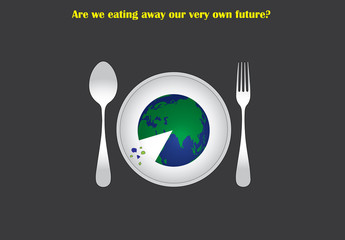 environment concept earth served plate to eat like pizza