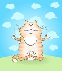 Illustration of funny cat practicing yoga