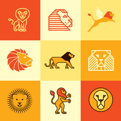 lion icons vector set