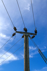 Wooden Power Electricity Pole Pylon,Blue Sky Background