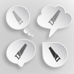 Hand saw. White flat vector buttons on gray background.