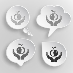apple in hands. White flat vector buttons on gray background.