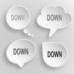 Down. White flat vector buttons on gray background.