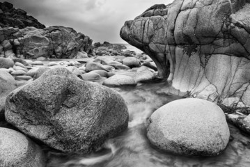 Beautiful landscpae of Porth Nanven beach Cornwall England black