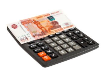 Business concepts. money with calculator on a white background