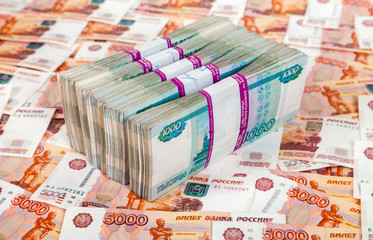 Russian rubles bills over money background