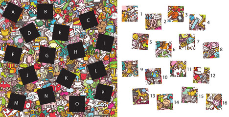 School: Match pieces, visual game. Solution in hidden layer!
