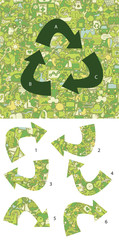 Ecology Match pieces, visual game. Solution in hidden layer!