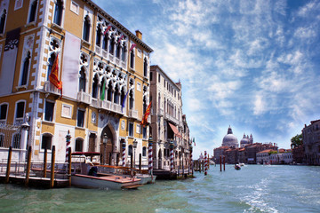 Famous Grand Canal and Palaces in Venice, Italy