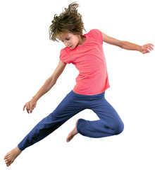 little girl jumping and dancing