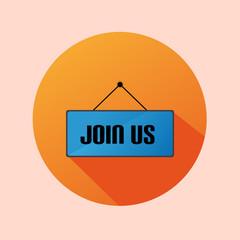 Orange Circle Flat Label Icon Join Us