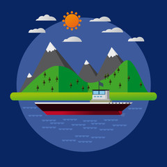 Flat Landscape Design With Mountain And Ship In a Circle