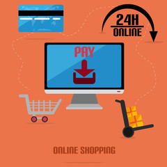 Online Shopping With Flat Monitor And Credit Card