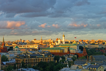 General Moscow Kremlin view with stormy sky