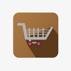 Flat Icon With Shopping Cart For Commerce In a Brown Square