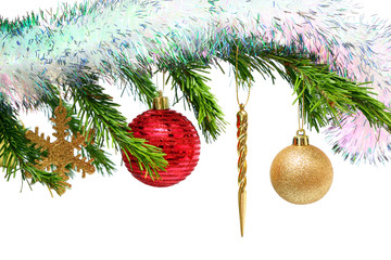 christmas toys on fir tree twig over white