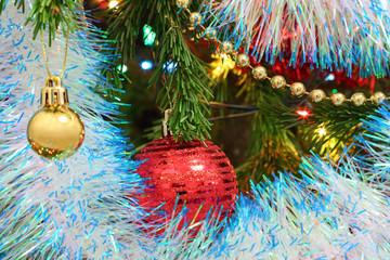 Christmas decorations on fir