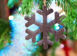 christmas wooden snowflake
