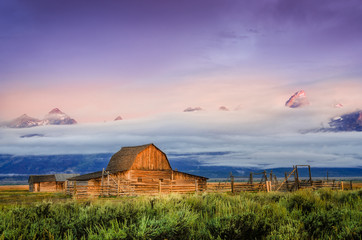 Scenic view of abandoned barn in Grand Teton, USA