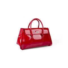 Elegant red purse made of leather