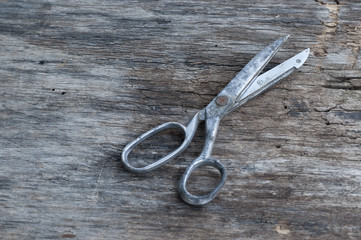 Scissors on a wood