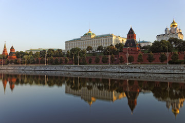 Moscow Kremlin reflected in river