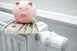 Heating thermostat with piggy bank and money