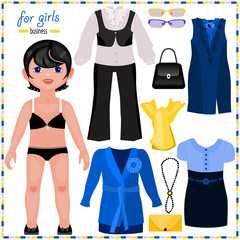 Paper doll with a set of elegant clothes. Business style.